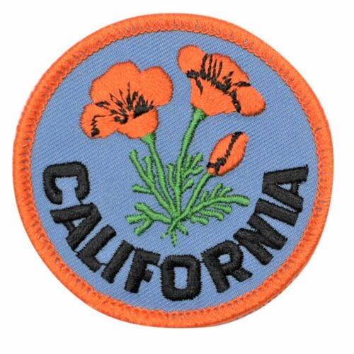 """Embroidered Iron or Sew on California Poppy Patch 2.5/"""" Official Flower of CA"""