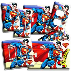 Details about SUPERMAN SUPERHERO LIGHT SWITCH OUTLET WALL PLATE COVER BOYS  BEDROOM ROOM DECOR