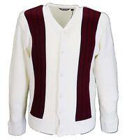 Retro Mod Striped Heavy Knit Cardigan In Offwhite/burgundy