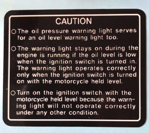 KAWASAKI Z1300 KZ1300 PETROL TANK GAS TANK OIL PRESSURE CAUTION WARNING DECAL