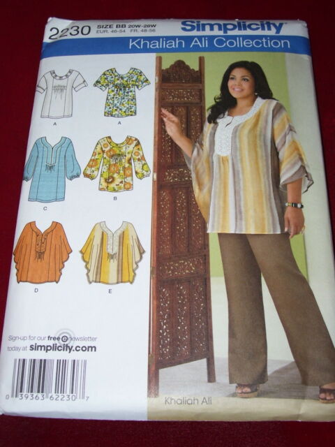 Size 20w 28w Sewing Pattern Simplicity 2230 Womens Tops Khaliah