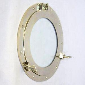 "Solid Brass Ship's Cabin Porthole Window 14"" Round Glass Nautical Wall Decor New"