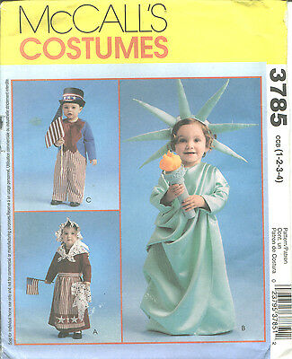 M 3785 sewing pattern PATRIOTIC COSTUMES Betsy Ross, Lady Liberty, Uncle Sam 1-4