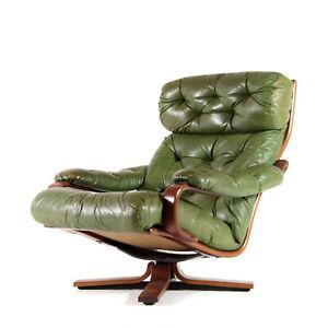 1 of 3 Retro Vintage Danish Teak Leather Swivel Lounge Egg Chair Armchair 1970s