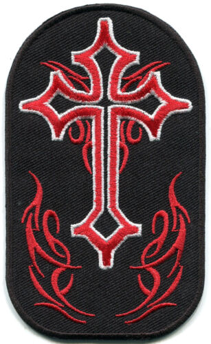 Celtic cross flames fire biker tattoo embroidered applique iron-on patch S-1402