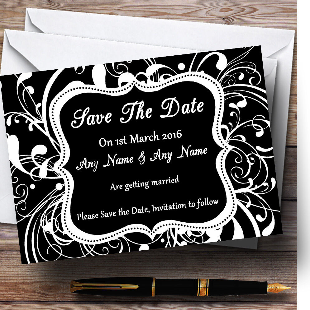 Black & Blanc  the Swirl déco personnalisé mariage save the  date cards fc97c3