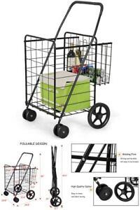 Folding Shopping Cart Jumbo Size Basket with Wheels for Laundry Grocery Travel /&