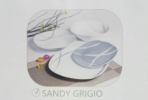 19pz Service Dishes Porcelain Decorated villa altachiara Sandy Grey