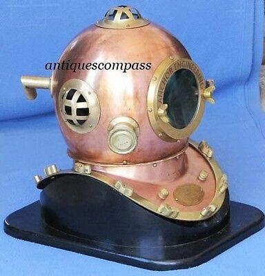 Marine Deep Sea Anchor Engineering Divers Diving Helmet W/ Wooden Base Replica