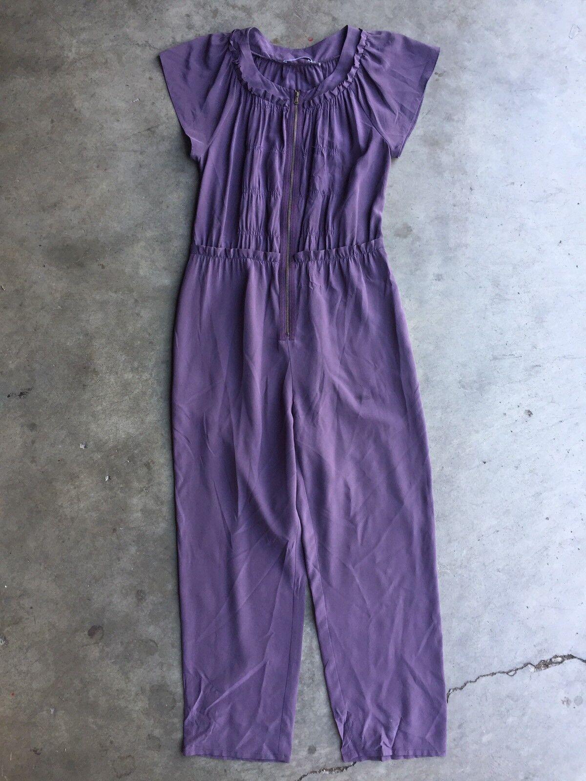 See by Chloe Ruffled Sleeveless Silk Jumpsuit sz 2 Purple