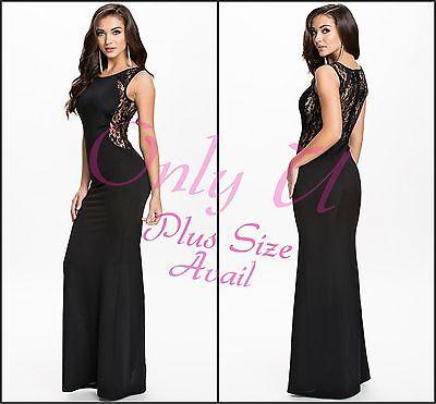 Sexy Women's Sleeveless Plus Size Lace Semi Stretch Long Mermaid Maxi Black