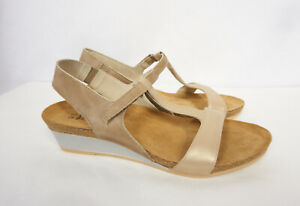 2609c2931a7a NAOT Unicorn Beige Leather Metallic Low Wedge T-Strap Sandal Shoes ...
