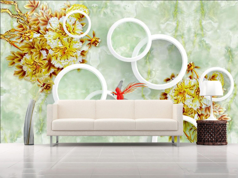 3D 3D 3D Circle Gelb Flowers 835Wallpaper Mural Paper Wall Print Wallpaper Murals UK e168b7
