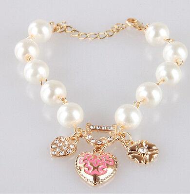 SH US Ladies Girls Heart Flower Rhinestone Letter D Word Pearl Bracelet