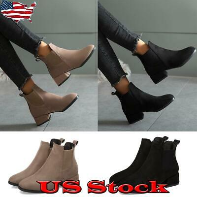 US Womens Low Mid Block Heel Ankle Boots Ladies Chunky Casual Booties Shoes Size