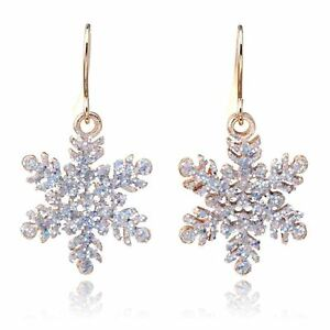 Gold Glitter Christmas Snowflake Drop Dangle Hook Earrings Snow Ladies Xmas A 785035498991