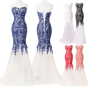 Sweet Mermaid Long Lace Bridesmaid Dress Formal Party Evening Dress Prom Gown