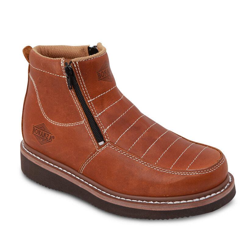 Para Hombre Luz Marrón Cuero Nobuck 6 Mocc del dedo del pie bota BONANZA 655 (D, M)