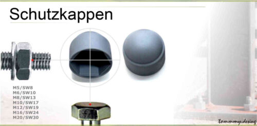 Abdeckkappen Schutzkappen für SechskantschraubenSchwarz alle Varianten