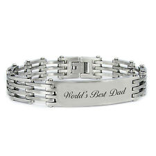 Stainless Steel Father's Day Words Best Dad Message ID Link Bracelet 8.5