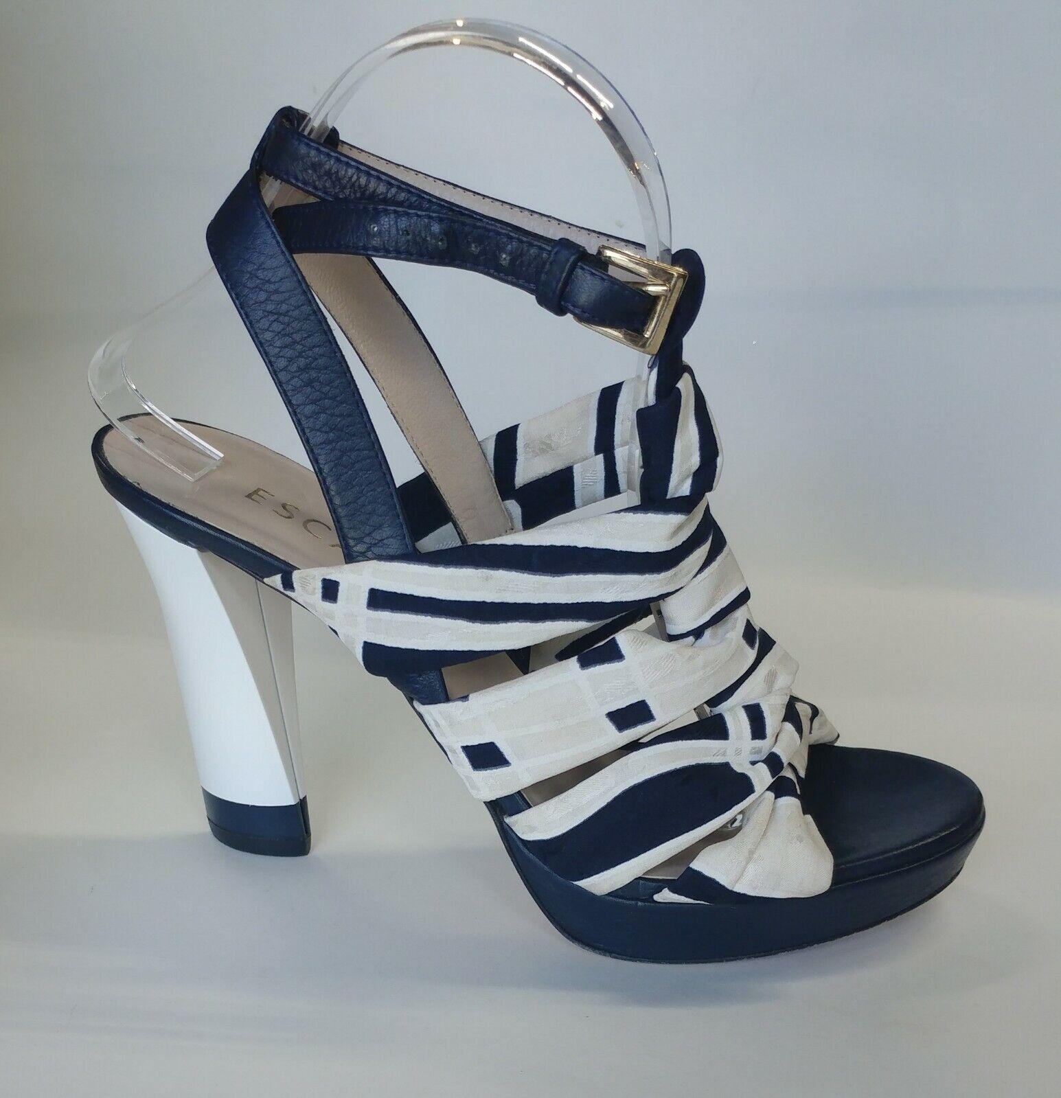 Escada donna  panno blu  bianco cuoio laccio Stiletto Pompe Scarpe come 39  prezzi bassi