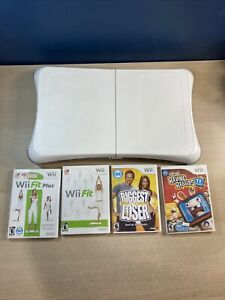 Wii Workout Bundle - Nintendo Wii Fit Balance Board With 4 Exercise Games TESTED