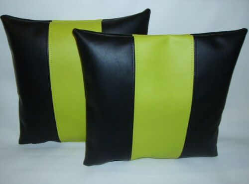 """2 Black /& Apple Green Stripe Faux Leather Cushion Covers 16/"""" 18/"""" 20/""""  Pillows"""