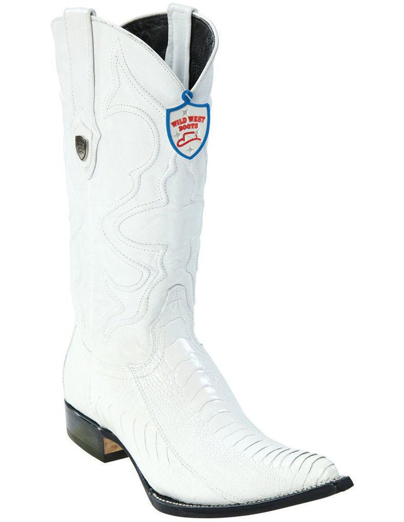 WILD WEST WHITE 3X-TOE GENUINE OSTRICH LEG WESTERN COWBOY COWBOY COWBOY BOOT (EE) a7d21d