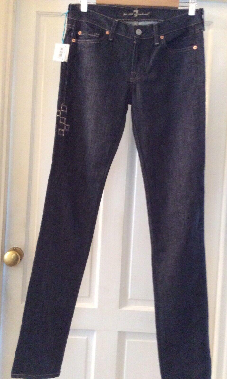 Donna Mankind Scuro SEVEN All denim jeans. Taglia 28 W32 L34 NUOVO