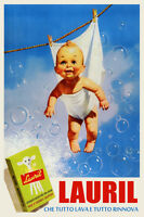 Lauril Washing Clothes Soap Baby Children Italy Vintage Poster Repro Free Sh