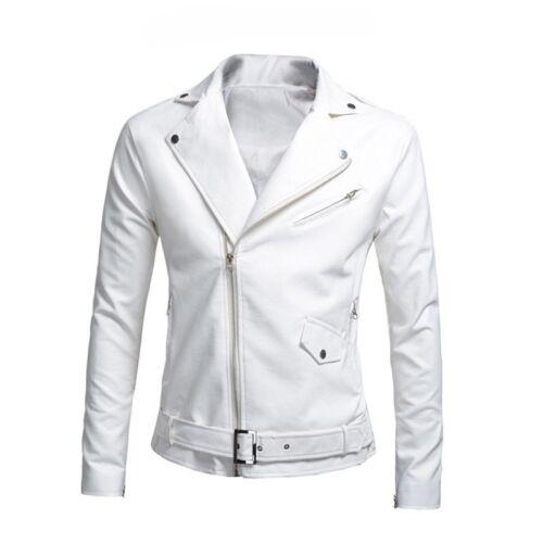 Men/'s Autumn Faux Leather Jacket Slim Fit Motorcycle Jacket Zipper Casual Coat