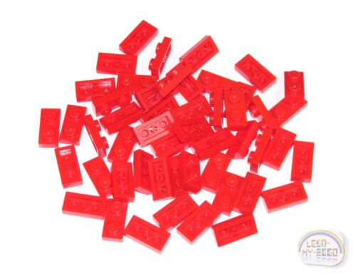 50-ea LEGO Tile, Brick 1 x 2 Plate New - Red 3-Buck Bag