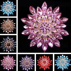 Delicate-Women-Alloy-Crystal-Rhinestone-Flower-Wedding-Bridal-Bouquet-Brooch-Pin
