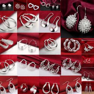 Fashion-Lady-Women-Crystal-925-Sterling-Silver-Ear-Stud-Hoop-Earrings-Jewelry