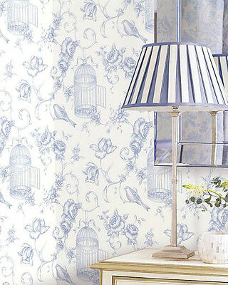 ONE DOUBLE ROLL Bird Birdcage Floral Blue White Cottage Chic Modern Wallpaper