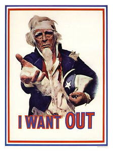 I Want Out Uncle Sam Anti Vietnam Classic Poster Print