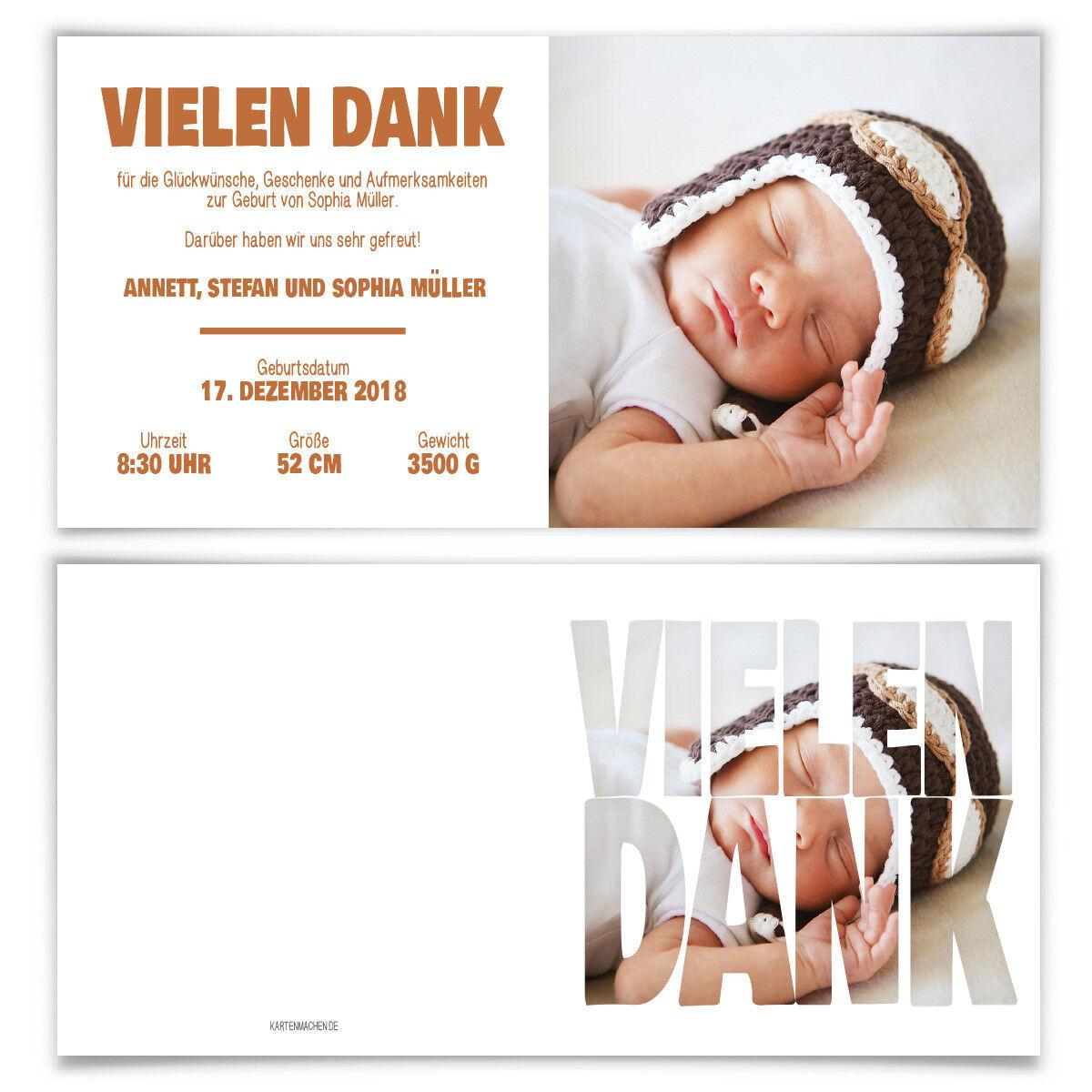 Geburtskarten Babykarten Danksagung Dankeskarte Geburt Geburt Geburt individuell - Fotoschrift | Qualität und Quantität garantiert  | Meistverkaufte weltweit  0396f8