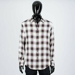 CELINE-890-Men-039-s-Classic-Flannel-Shirt-In-Checkered-Viscose-Plaid