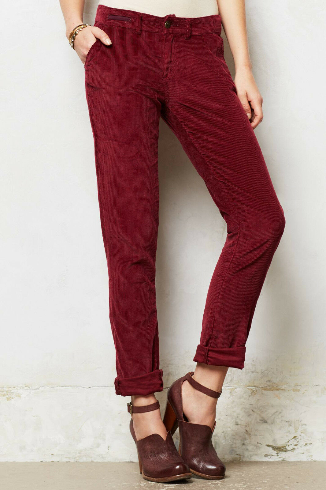 Pilcro Relaxed Cords Pants Size 30 Petite, 31 Regular Wine NW ANTHROPOLOGIE Tag