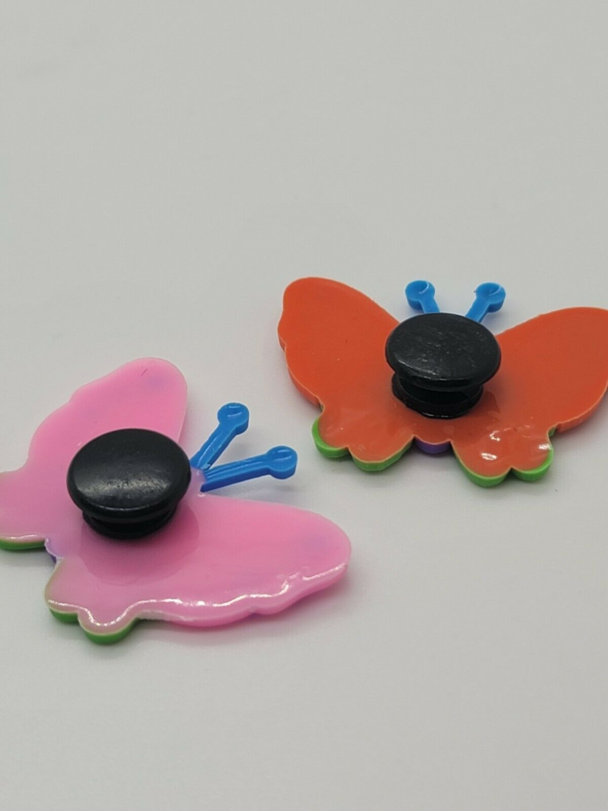 (2) Colorful Pink Orange Green Butterfly Shoe Charms Buttons