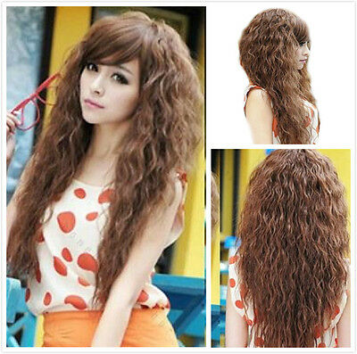Women Sexy Long Curly Wavy Natural Punk Girl Hair Cosplay Party Full Wigs + Cap