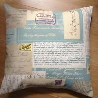 """New Postage Stamps Script Writing Duck Egg Blue Fabric Scatter cushion Cover 16"""""""