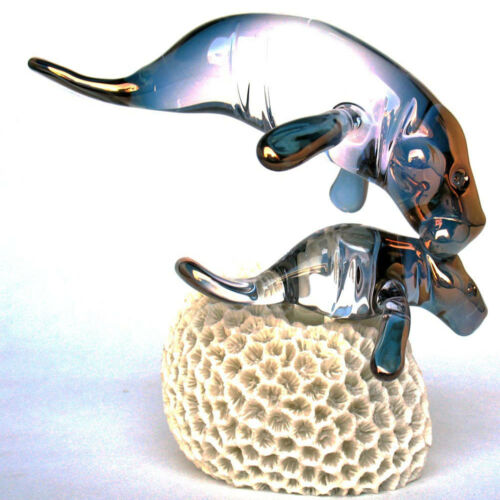 Manatee and Calf Figurine of Hand Blown Glass and Coral