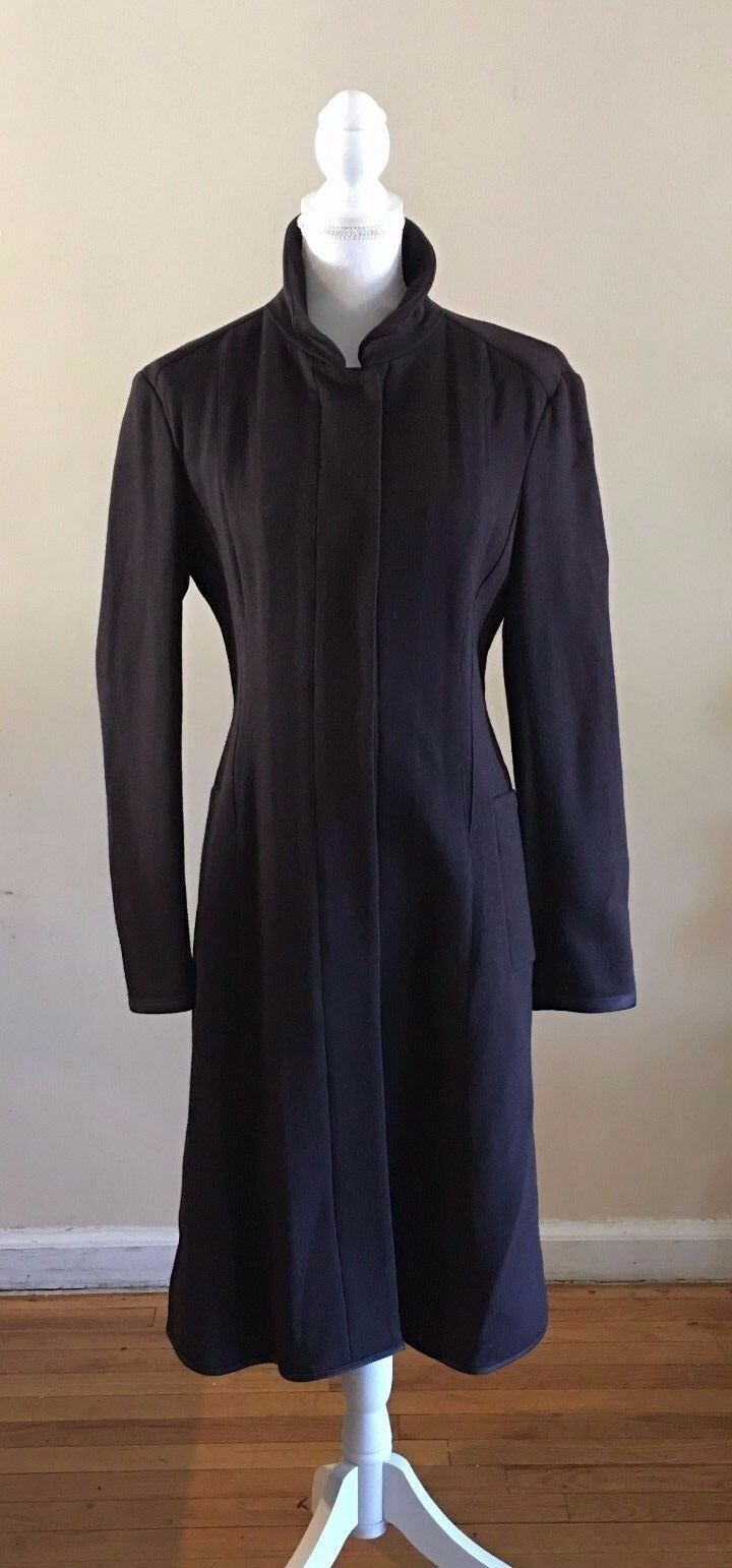 NWT NARCISO RODRIGUEZ ITALY LONG FITTED WOOL CASHMERE COAT IN EGGPLANT 3,200