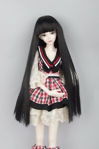"Free shipping BJD Doll Hair Wig 8-9""1/3 SD DZ DOD LUTS Black Long Straight"