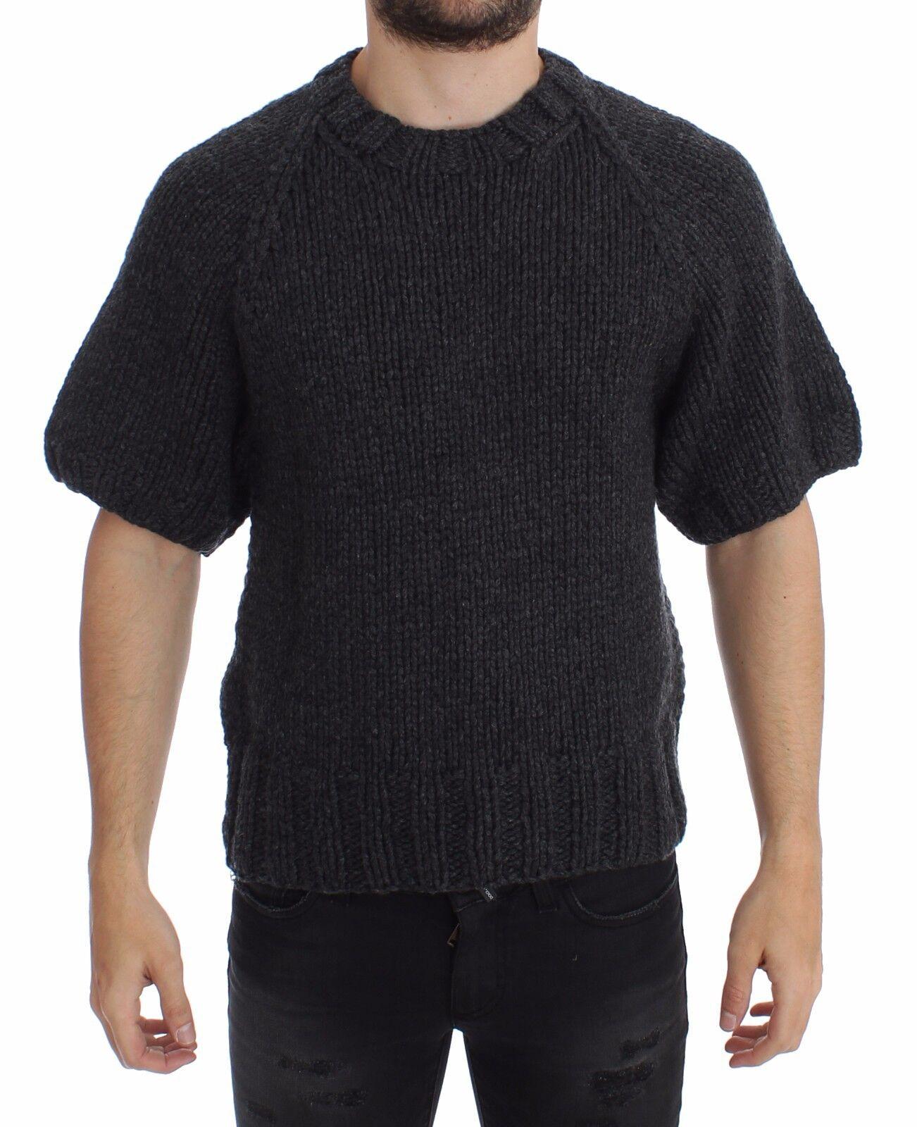 NUOVA CON ETICHETTA DOLCE & GABBANA grigio cashmere Maglia Shortsleeved maglione