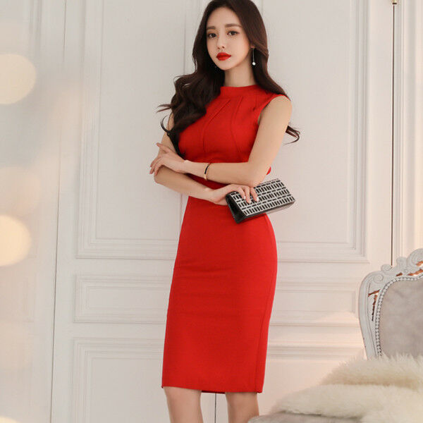 Elegante vestito abito  tubino rosso evento lungo scollato morbido 4706