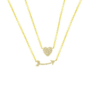 0-18ct-Ct-14k-Oro-Amarillo-Diamante-Natural-Corazon-Flecha-Cadena-Doble