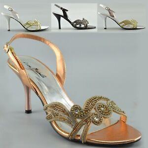 Señoras para mujer Sandalias De Boda Nupcial Diamante Gatito Tacón Fiesta Hebilla Zapatos UK