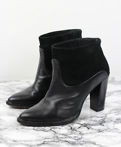 Leather Heeled Ankle Boots, Size UK